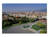 Flower beds at the Piazzale Michelangelo with view of the city, Florence, Tuscany, Italy Prints