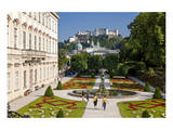 Mirabell Palace and Mirabell Gardens against Salzburg Cathedral and Fortress Hohensalzburg Prints