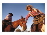 Ranchers with their horses, Horseshoe Working Ranch, Arizona, USA Print