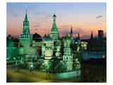 Saint Basil's Cathedral and Spassky Tower at night, Red Square, Moscow, Russia Prints