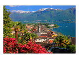 View of the Town Centre with Parish Church and Lake, Ascona, Lake Maggiore, Switzerland Prints