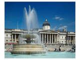 Fountain in front of the National Gallery on Trafalgar Square, London Prints