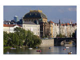 View across Vltava River towards the National Theatre in Prague, Central Bohemia, Czech Republic Prints