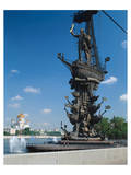 Tsar Peter the Great Monument and Cathedral of Christ the Saviour, Moscow, Russia Prints