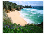 View of Porthcurno Beach, Cornwall, England, Great Britain Posters