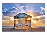 Lifeguard Station on the Beach, Crandon Park, Key Biscayne, Florida, USA Posters