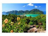 Isthmus with Bays and Beaches on Ko Phi Phi Don Island, Krabi, Thailand Prints