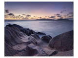Rocks on the Anse Source d'Argent beach, La Digue Island, Seychelles Print