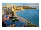 View across Waikiki Beach towards Diamond Head, Honolulu, Island of Oahu, Hawaii, USA Prints