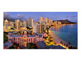 View across Waikiki Beach towards Diamond Head, Honolulu, Island of Oahu, Hawaii, USA Print