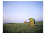 Beach chairs at Gruener Strand, Pellworm, Schleswig-Holstein, Germany Print