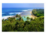 View across Kee Beach, Haena State Park, Island of Kauai, Hawaii, USA Poster