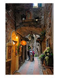 Alley in the Old Town with Flower Arrangements on occasion of the Flower Festival in Dolceacqua Prints