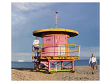 Lifeguard station on the Beach, Miami Beach, Florida, USA Prints