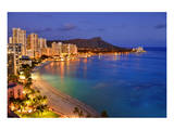 View across Waikiki Beach towards Diamond Head, Honolulu, Island of Oahu, Hawaii, USA Plakater
