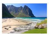 Beach in Kvalvika Bay near Fredvang, Moskenesoya Island, Lofoten Islands, Norway Prints