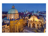 Dome of Church of St. Francis of Assisi with Church of the Holy Saviour in the Old Town of Prague Prints