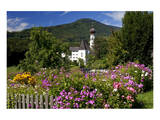 Flower Garden at Hoeglwoerth Monastery, Upper Bavaria, Bavaria, Germany Art