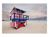 Lifeguard station on the Beach, Miami Beach, Florida, USA Prints