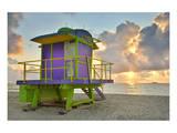 Lifeguard Station on the Beach, Miami Beach, Florida, USA Posters