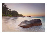 Rock on the Anse Lazio beach, Praslin Island, Seychelles Posters