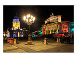 Festival of Lights, New Church, Deutscher Dom, and Berlin Theatre at Gendarmenmarkt, Berlin Prints