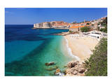 Beach with the Old Town of Dubrovnik, Dalmatia, Croatia Prints