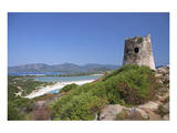 Torre di Porto Giunco Tower and Simius Beach near Villasimius, Sardinia, Italy Print