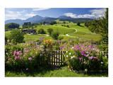 Flower Garden at Hoeglwoerth Monastery, Upper Bavaria, Bavaria, Germany Umění