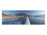 Lido in Kaltenbrunn in Winter, Lake Tegernsee, Upper Bavaria, Bavaria, Germany Prints