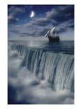 Sailboat and Waterfall at Earth's End Art