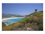 Torre di Porto Giunco Tower and Simius Beach near Villasimius, Sardinia, Italy Prints