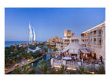 Al Quasr Hotel with Burj Al Arab at the Madinat Jumeirah Resort, Jumeirah Beach, Dubai Poster