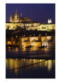 Vltava with Charles Bridge and Prague Castle, Central Bohemian Region, Czech Republic Posters