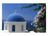 Church cupola of Oia, Santorini, Cyclades, Greece Poster