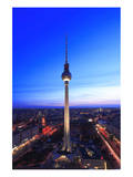 Television Tower on Alexanderplatz Square at Dusk, Berlin, Germany Prints