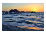 Pier on the Beach of Naples on the Gulf Coast, Florida, USA Prints
