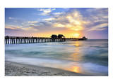 Pier on the Beach of Naples on the Gulf Coast, Florida, USA - Poster