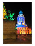 Festival of Lights, French Cathedral at Gendarmenmarkt, Berlin, Germany Prints