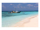 Bumboat in front of Ihuru Island, North Male Atoll, Maldives Poster