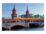 Oberbaum Bridge across River Spree between Friedrichshain and Kreuzberg, Berlin Germany Posters