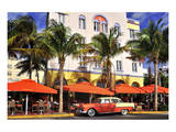 Classic Car in front of the Paparazzi Restaurant, Ocean Drive Prints