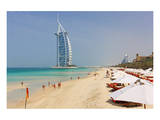 Beach at the Al Quasr Hotel of Madinat Jumeirah with View of Burj al Arab Prints