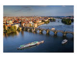 Charles Bridge across Vltava River with Old Town Bridge Tower in Prague Prints