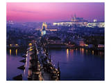 View across Charles Bridge with Prague Castle and St. Vitus Cathedral, Prague Print