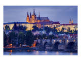 Charles Bridge across Vltava River with Hradcany Quarter and St. Vitus Cathedral in Prague Prints