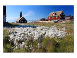 Historic centre and Zion Church in Ilulissat, Disko Bay, West Coast, Greenland Affiches