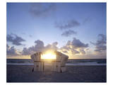 Sunset on the beach, Sylt, Schleswig-Holstein, Germany Print