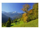 Hintergraseck against Zugspitz Mountain Range, Garmisch-Partenkirchen, Bavaria, Germany Prints