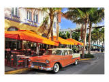 Classic Car in front of the Paparazzi Restaurant, Ocean Drive Posters